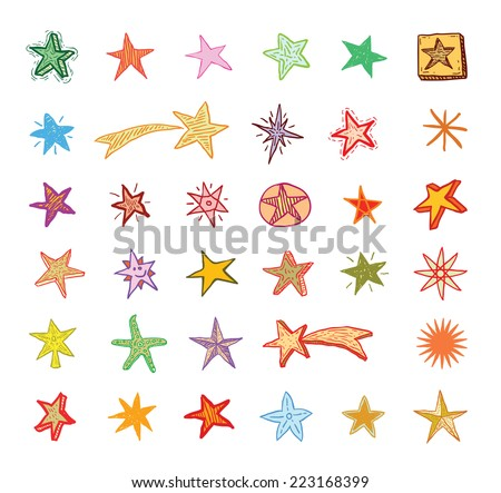 Star Doodles, hand drawn vector illustration. - stock vector