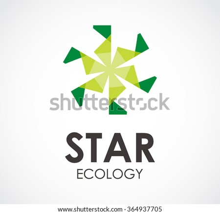 Star ecology of natural circle abstract vector and logo design or template environment business icon of company identity symbol concept - stock vector