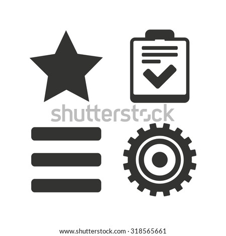 Star favorite and menu list icons. Checklist and cogwheel gear sign symbols. Flat icons on white. Vector - stock vector