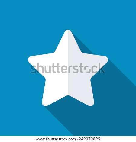 Star, favorite icon, vector illustration. Long shadow effect. Flat style design - stock vector
