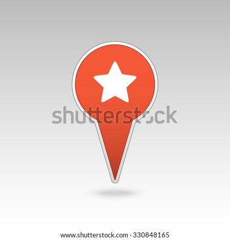 Star favorite pin map icon. Map pointer. Map markers. Vector illustration EPS10 - stock vector