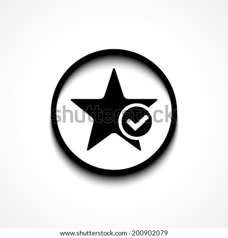 Star favorite sign web icon with check mark glyph. Vector illustration design element eps10 - stock vector