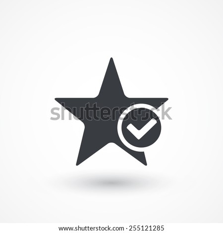 Star favorite sign web icon with tick sign. Vector illustration design element. Flat style design icon - stock vector