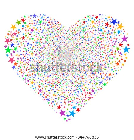 Star Fireworks Heart vector illustration. Style is bright multicolored flat stars, white background.
