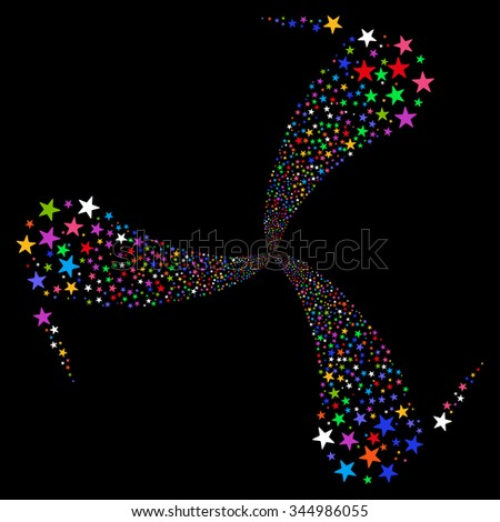 Star Fireworks Swirl Rotation vector illustration. Style is bright multicolored flat stars, black background. - stock vector