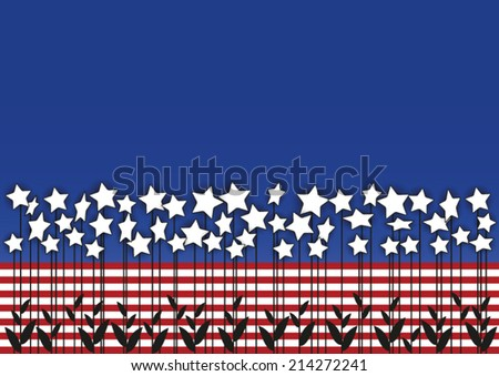 star flowers combined with USA flag colors - stock vector