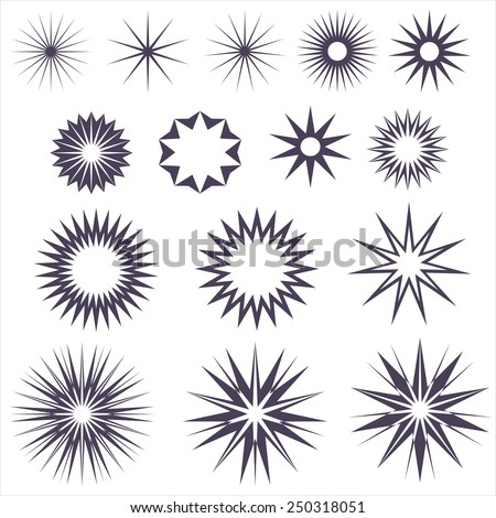 Star Graphic collection. Vector vintage burstings rays set - design elements for your design. Great for retro style projects. - stock vector