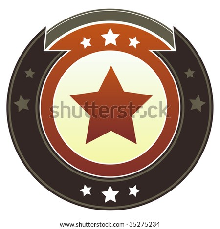 Star icon on round red and brown imperial vector button with star accents suitable for use on website, in print and promotional materials, and for advertising. - stock vector