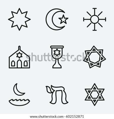 Star icon set 9 star outline stock vector 606525692 shutterstock star icon set of 9 star outline icons such as synagogue hanukkah religious sciox Images