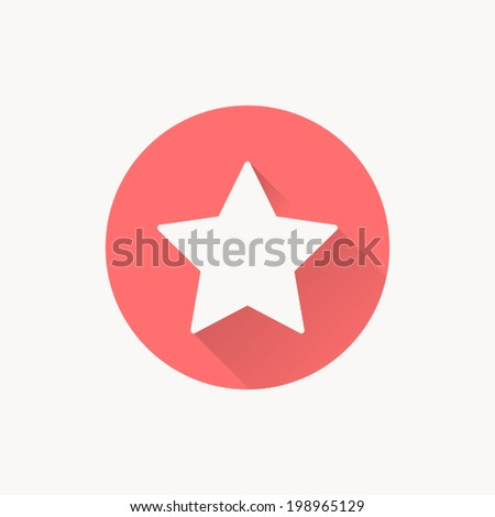 Star icon , Vector illustration flat design with long shadow - stock vector