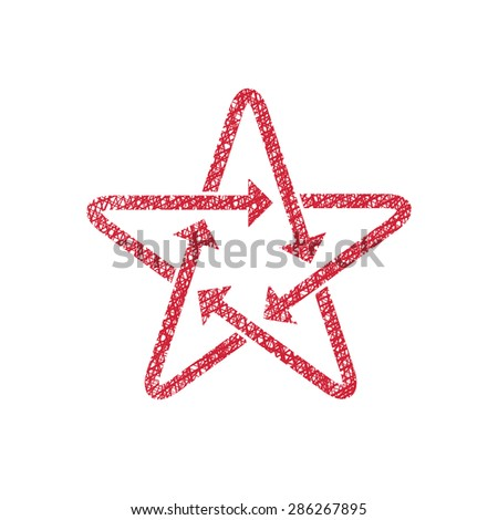 Star icon with arrows with hand drawn lines texture. - stock vector