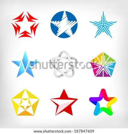 Star icons and logo inspiration collection - stock vector