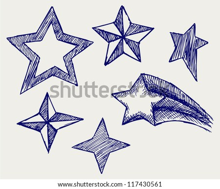 Star icons. Doodle style - stock vector