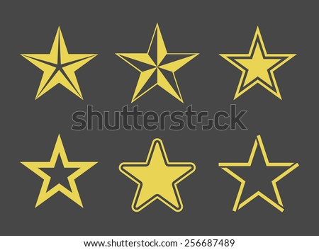 Star icons set. Yellow pictograms on black background. Monochrome vector illustration. - stock vector