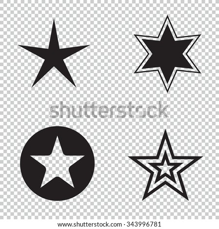 Star icons. Star pictogram. Set star icons. Concept rating, success, awards. Collection star pictogram. Colored star shape. Simple icon star. Isolated star symbol. Star icon on a black background. - stock vector
