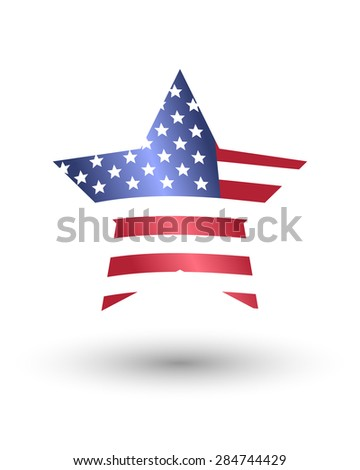 Star in American flag style - stock vector