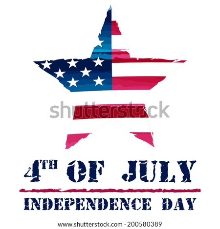 star in USA drawing flag and 4th of July - Independence Day, american holiday concept, vector - stock vector