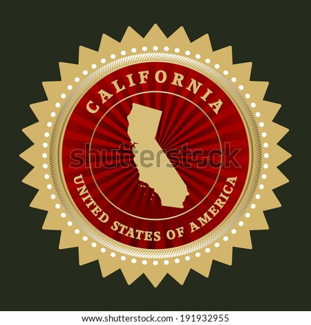 Star label with map of California, vector - stock vector