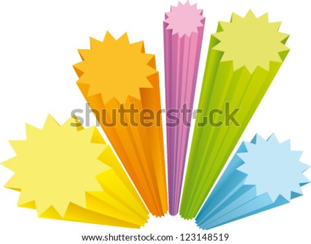 Star labels in 4 colors with three-dimensional perspective - stock vector