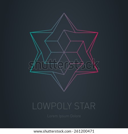 Star logo. Low poly impossible figure. Vector Lowpoly logotype or line design element. - stock vector