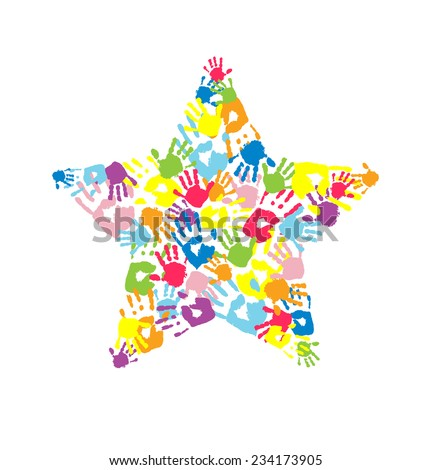 Star made of the handprints - stock vector