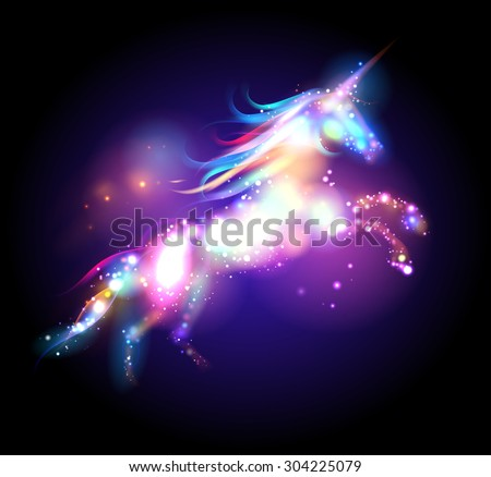 Star magic unicorn logo template. - stock vector