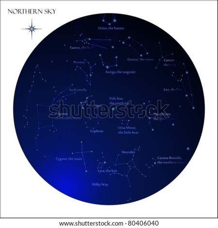 Star map, northern sky constellations - stock vector