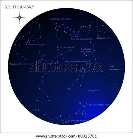 Star map, southern sky constellations - stock vector