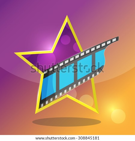 Star Movie Film Entertainment Icon Vector - stock vector
