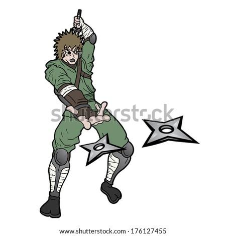 Star ninja - stock vector