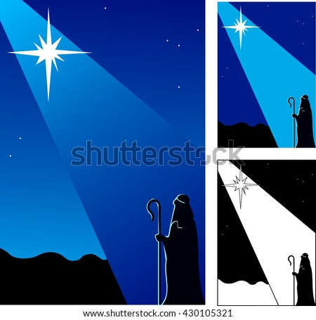 Star of Bethlehem announcing the birth of Christ to a shepherd in the field. - stock vector