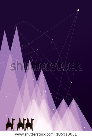 Star of Bethlehem/ Classic three magic scene - stock vector