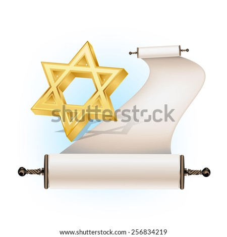 Star of David and ancient scroll - stock vector