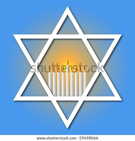 Star of David and Hanukkah Candles - stock vector