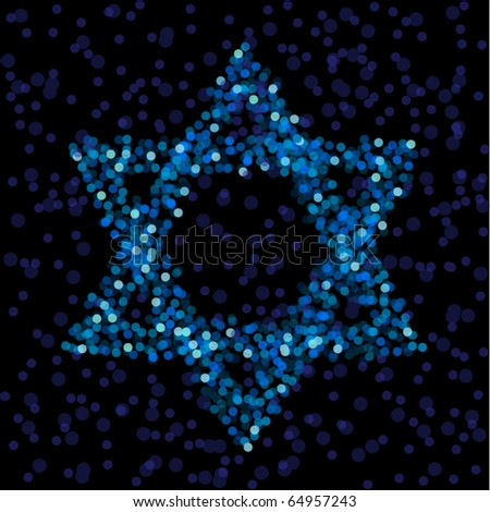 Star of David formed from defocused lights - stock vector