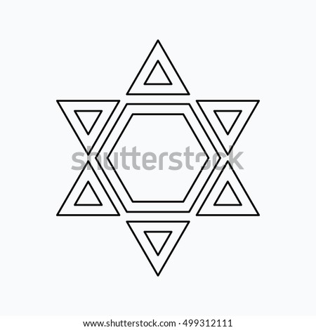 Star of David Vector illustration. Religion icon. Silhouette. Flat style.