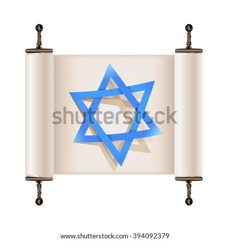 Star of David with shadow on Hebrew ancient scroll - stock vector