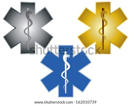 Star of Life Rod of Asclepius Medical Symbol For Ambulance Isolated on White Background Vector Illustration - stock vector