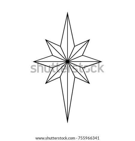 Star Outline Christmas Isolated On White Background Vector Illustration