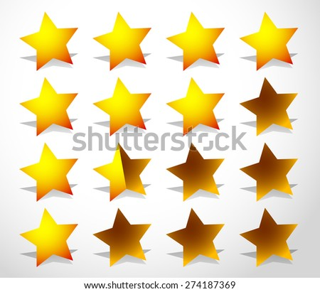 Star rating element. Half stars and full stars included. Graphics for quality, level rating, customer feedback concepts. - stock vector