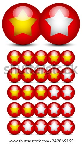 Star rating graphics with gold stars on red balls - stock vector
