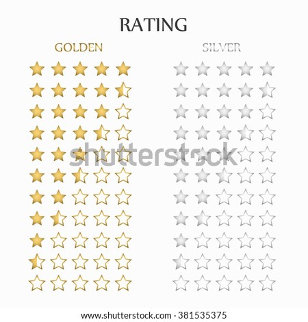 Star rating in gold and silver, vector - stock vector