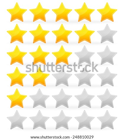 Star rating system with 5 stars from zero to 5 with /white/ outline on the stars. - stock vector