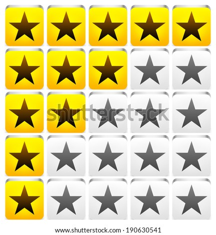 Star rating  system - Yellow, grey stars on 3d rectangle shapes