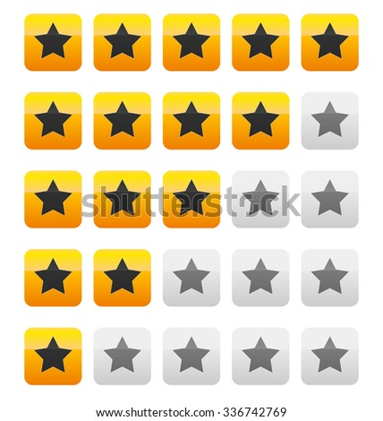 Star rating vector. Star rating wih squares.