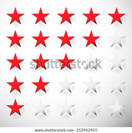 Star rating with red stars - Classification, evaluation - stock vector