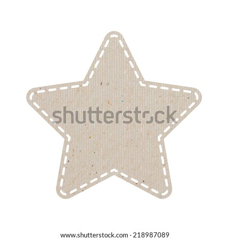 star recycled paper craft on white paper background, vector illustration   - stock vector