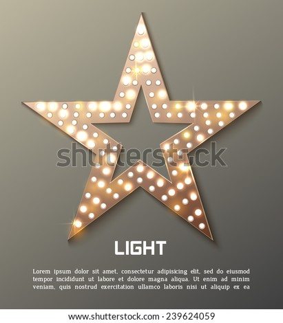 Star retro light banner. Vector illustration - stock vector