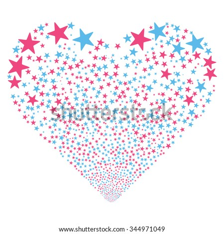Star Salute Heart vector illustration. Style is pink and blue bicolor flat stars, white background. - stock vector