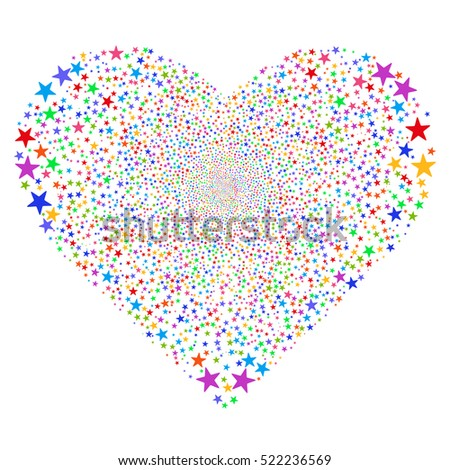 Star Salute Heart vector image. Style is bright multicolored flat stars, white background.